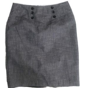 AGB Grey Pinstripe Faux Button Pencil Skirt Size 4
